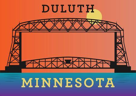 Aerial Ferry Bridge na Duluth, Minnesota, Stany Zjednoczone Ilustracje wektorowe