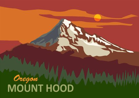 Mount Hood in Oregon, United States Illustration