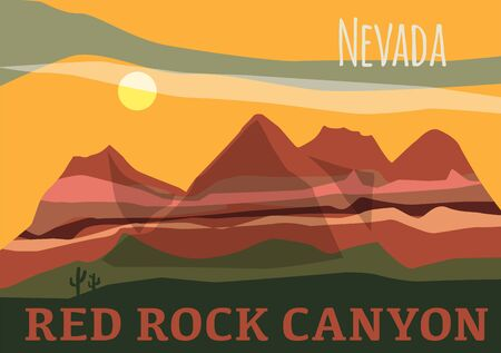 Red Rock Canyon in in Nevadas Mojave Desert, United States  イラスト・ベクター素材
