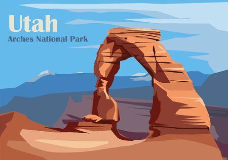 Delicate Arch en el Parque Nacional Arches, Utah, Estados Unidos. Ilustración vectorial