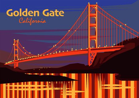 The Golden Gate Bridge at sunset in San Francisco, California, United States, vector illustration Illustration