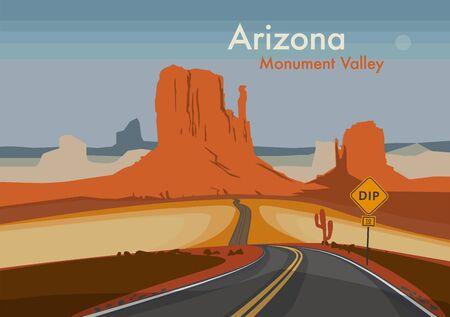 Desert landscape. Monument Valley, Arizona, United States. Vector illustration Vektoros illusztráció