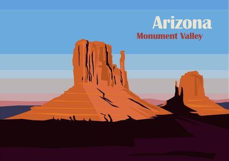 West y East Mitten Butte en Monument Valley, Utah, Estados Unidos. Ilustración vectorial