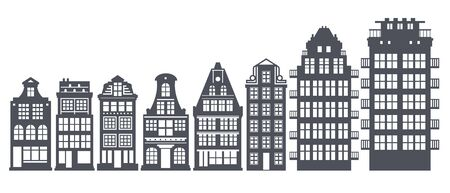 Europe house or apartments set. Cute architecture in Netherlands. Vector illustration