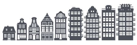 Europe house or apartments set. Cute architecture in Netherlands. Vector illustration Illustration