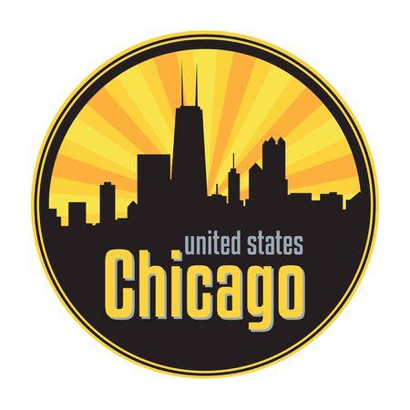 Badge, label or stamp with Chicago skyline, vector illustration