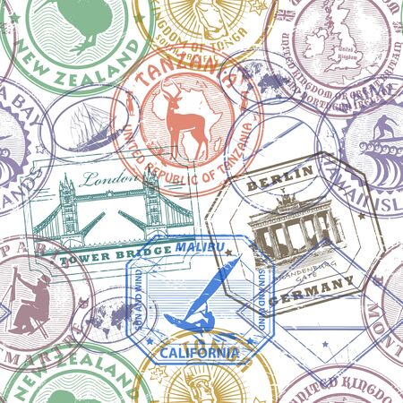 Passport stamps background - set seamless pattern, vector illustration