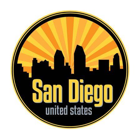 Badge, label or stamp with San Diego skyline, vector illustration