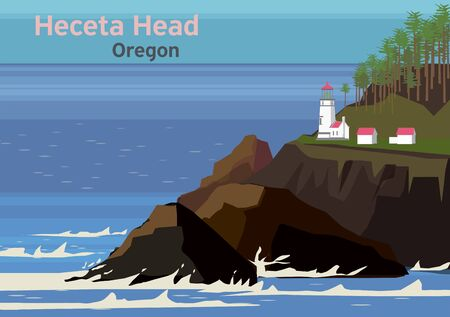 Heceta Head Light, lighthouse on the Oregon Coast in the United States, vector illustration