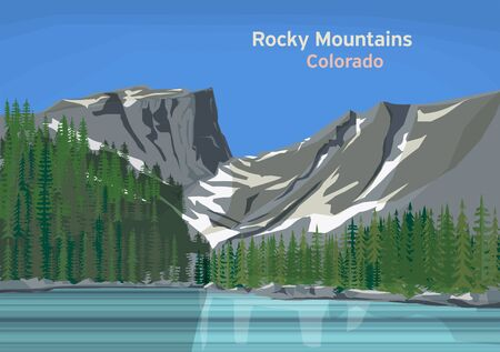 The Rocky Mountains, mountain range located in western North America, United States, vector illustration