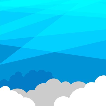 Sky with clouds wide background. Blue sky with white clouds on background, vector illustration