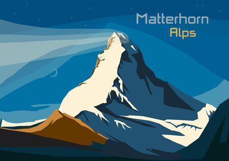 Matterhorn, Swiss Alps. Landscape of Alps with Matterhorn, vector illustration Vetores