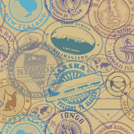 Sfondo di timbri del passaporto - impostare il modello senza soluzione di continuità, illustrazione vettoriale Vettoriali