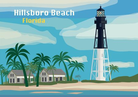 Hillsboro Inlet Lighthouse, Hillsboro Beach, Florida, United States. Vector illustration