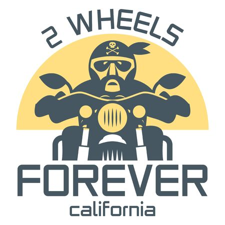 Motorcycle poster with text 2 Wheels Forever, California. Bikers t-shirt print design or poster. Vector illustration