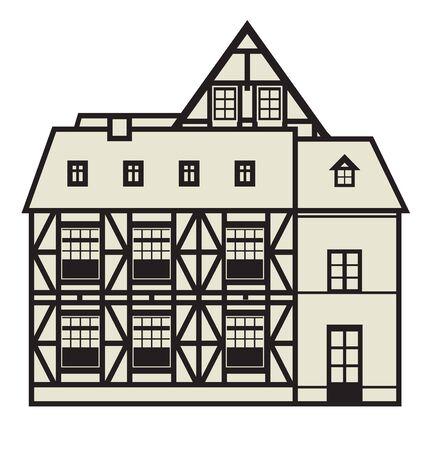 European Half Timbered house on white background, vector illustration Illustration