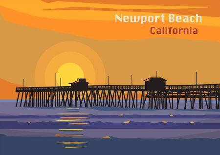 Newport Beach, California, United States. Vector illustration