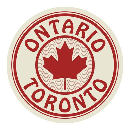 Stamp or sticker with symbol of Canada - The Maple Leaf, and text Ontario and Toronto, vector illustration 일러스트