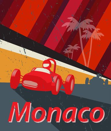 Red Racing car, Monaco race, design for t-shirt, poster, vector illustration