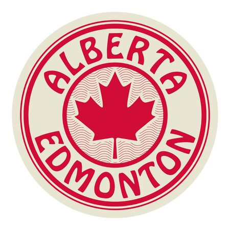 Stamp or sticker with symbol of Canada - The Maple Leaf, and text Alberta and Edmonton, vector illustration  イラスト・ベクター素材