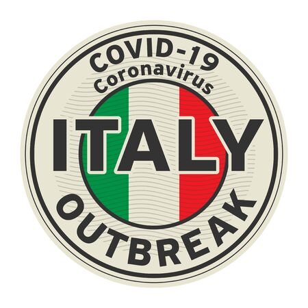 Abstract stamp or sign with text Coronavirus outbreak 2019-nCoV in Italy, vector illustration