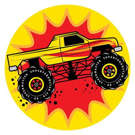 Jump Monster Truck 4x4, Vector Illustration