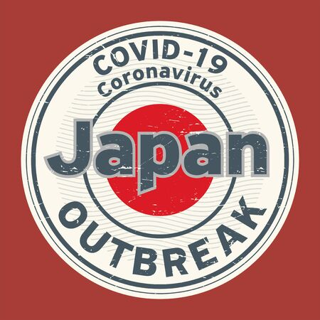 Abstract stamp or sign with text Coronavirus outbreak 2019-nCoV in Japan, vector illustration