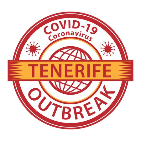 Abstract stamp or sign with text Coronavirus outbreak 2019-nCoV in Tenerife, Spain, vector illustration