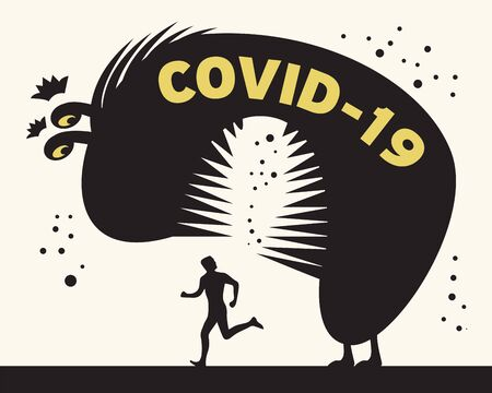 Man running from Corona Virus. Concept of corona virus quarantine, corona cell. Vector illustration Çizim