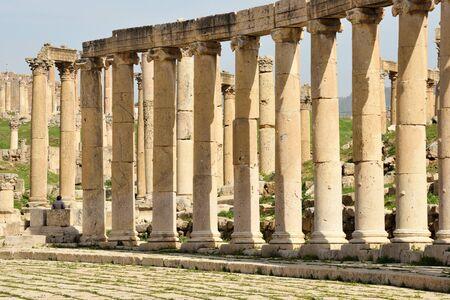 Columns of ruined Greco-Roman city of Gerasa in Jerash, Jordan