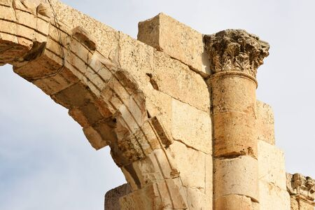 Details of ruined Greco-Roman city of Gerasa in Jerash, Jordan