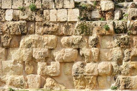 Wall of ruined Greco-Roman city of Gerasa in Jerash, Jordan