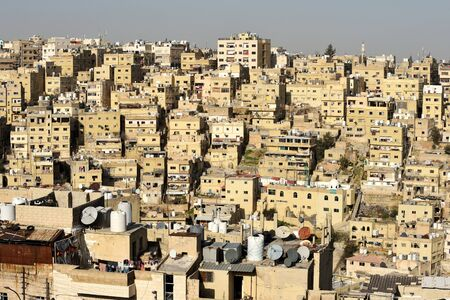 View to the residential area buildings of the city in Amman, Jordan.