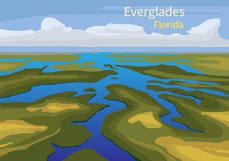 Landscape of Everglades saw grass, water, and clouds in Everglades National Park, Florida, United States, vector illustration