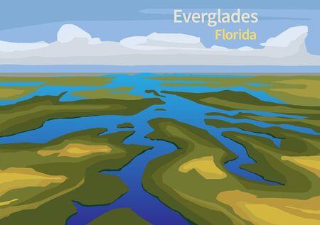 Paisaje de Everglades vio hierba, agua y nubes en el Parque Nacional Everglades, Florida, Estados Unidos, ilustración vectorial