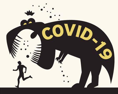 Man running from Corona Virus. Concept of corona virus quarantine, corona cell. Vector illustration Illustration