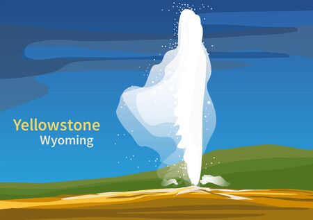 Old Faithful, Yellowstone National Park, Wyoming, United States, vector illustration 写真素材 - 141977932