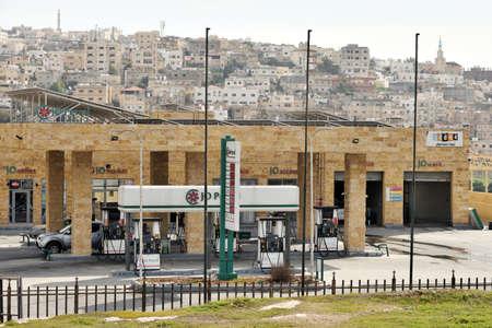 Jerash - February 15, 2020. Jordan Petroleum Gas Sation in Jerash, Jordan. Jordan Petroleum Refinery Company runs the only oil refinery in Jordan.