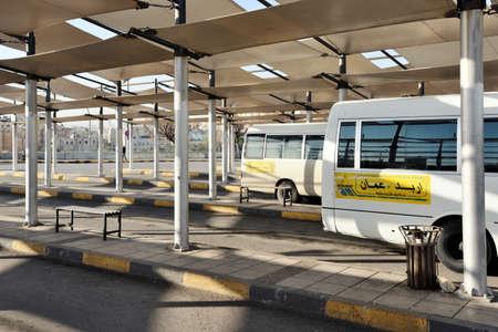 Amman, Jordan - February 15, 2020. View to public Bus Station of the city Amman, Jordan. Amman is the capital and largest city of Jordan. Editorial