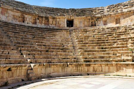 Amphitheater in the ancient Roman city of Gerasa in Jerash, Jordan