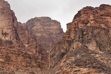 Wadi Rum rock desert. Wadi Rum is a valley cut into the sandstone and granite rock in southern Jordan