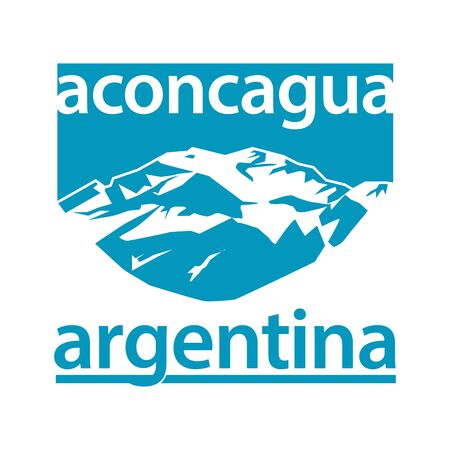 Aconcagua, mountain in the Andes mountain range, in Mendoza Province, Argentina - climbing, trekking, hiking, mountaineering and other extreme activities template, vector