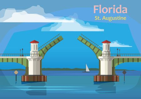 The Bridge of Lions is a double-leaf bascule bridge that spans the Intracoastal Waterway in St. Augustine, Florida, United States, vector illustration