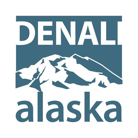 Mount Denali is the highest mountain peak in North America, located in Alaska - climbing, trekking, hiking, mountaineering and other extreme activities template, vector