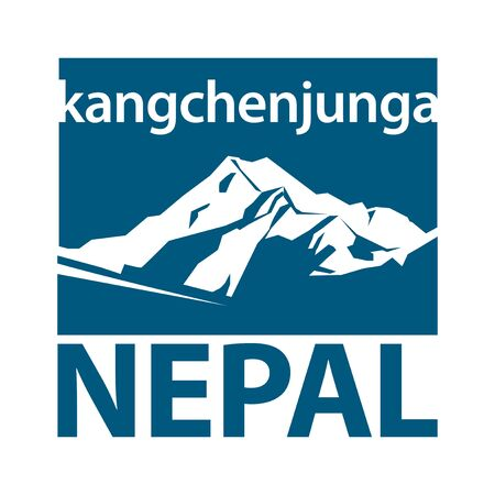 Kangchenjunga is the third highest mountain in the world, Nepal, Asia - climbing, trekking, hiking, mountaineering and other extreme activities template, vector