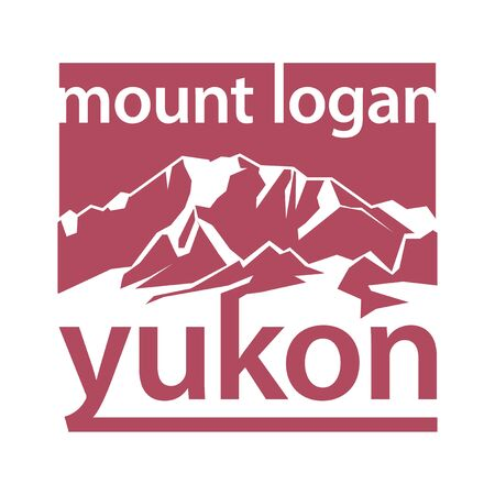 Mount Logan is the highest mountain in Canada and the second-highest peak in North America - climbing, trekking, hiking, mountaineering and other extreme activities template, vector Illustration