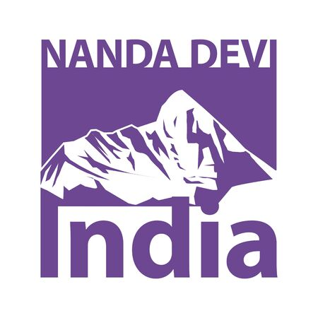 Nanda Devi, the second highest mountain in India after Kangchenjunga - climbing, trekking, hiking, mountaineering and other extreme activities template, vector