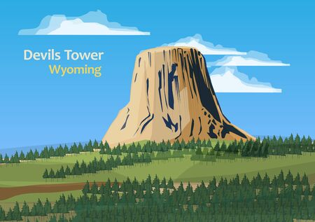 Devils Tower national monument in northeast Wyoming, United States, vector illustration