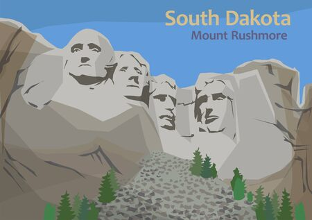 Mount Rushmore National Memorial, sculpture carved into the granite face of Mount Rushmore in the Black Hills in Keystone, South Dakota, United States, vector illustration