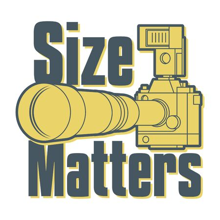 Professional camera with big and long zoom or telephoto lens and flash strobe, text - Size Matters, vector illustration